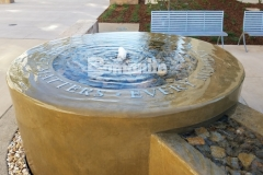 Bomanite Integral Color was paired here with a smooth trowel finish to create a decorative concrete fountain at the Clovis Community Medical Center and the tranquility of the water creates a calm atmosphere that is perfect to remind patients and visitors that every moment matters.