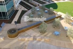 From forming the walls, sourcing the hard to locate epoxy coated rebar, to pouring the Bomanite smooth-troweled, integrally colored concrete, our associate Heritage Bomanite took pride in creating this relaxing, restorative fountain outside of the Clovis Community Medical Center.