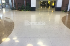 Concrete Arts expertly installed these stunning award-winning floors at the Infinite Campus using the Bomanite Modena Custom Polishing System, adding a unique elegance to this space with a free-flowing design that highlights the beautiful aggregates and lustrous finish.