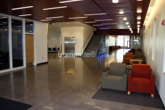 Concrete Arts used The Bomanite Modena custom polishing system to create these exquisite concrete floors at the MSU Law Enforcement and Criminal Justice Education Center, using Slate Gray integrally colored concrete for the base and incorporating local aggregates to add a textural element and ground Mother of Pearl oyster shells to add a beautiful sheen.