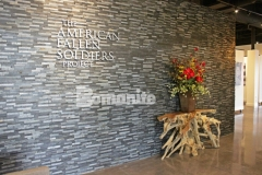 Featured here at The American Fallen Soldiers Project National Gallery is Bomanite Patene Teres custom polished concrete that was colored using Bomanite Black Orchid concrete dye to create a flooring surface that is durable, decorative, and offers a luminous, elegant finish.
