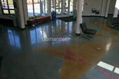 Concrete Arts used the Bomanite Patene Teres Custom Polishing System to create this stunning, decorative concrete floor, perfectly pairing together Bomanite Concrete Dyes in Black Orchid, Pineapple, Pomegranate, and Warm Honey to create a focal feature at the East Phillips Community Center.