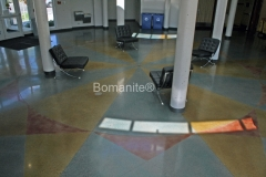 Concrete Arts used the Bomanite Patene Teres Custom Polishing System to create a beautiful, lustrous finish on the decorative concrete floors in this East Phillips Community Center, providing durability, ease of maintenance, and a stunning finished product.