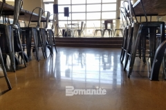 Patene Teres by Bomanite was installed here to create a custom polished decorative concrete flooring that complements the sophisticated and contemporary design features within the space.