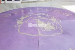 The Bomanite Exposed Aggregate Alloy System was installed at Harrisburg High School using a beautiful purple color hardener and custom engraving to create a unique decorative concrete hardscape that many generations of staff and students will be able enjoy.