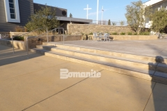 This eye-catching courtyard at CrossCity Christian Church features Bomanite Sandscape Texture decorative concrete that was chosen to provide a hardscape surface with extreme durability and would create cohesiveness between the various exterior spaces.