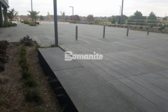 Bomanite Sandscape Texture decorative concrete is featured here, and the beautiful architectural hardscape is a perfect complement to the surrounding landscape and other design features.