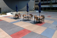 Bomanite Con-Color was used here to add vibrant pops of color to the Bomanite Sandscape Texture decorative concrete hardscape and the distinctive design details create added visual interest.