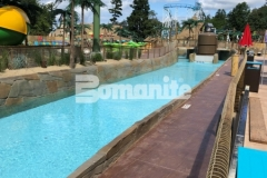 The Bomanite Bomacron Boardwalk pattern was used here to add dimension and texture to the lifeguard walk at this outdoor water park, adding beautiful and distinctive design detail to the stamped concrete decking.