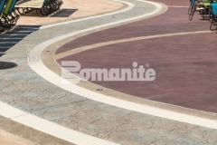 Bomanite Imprint Systems are featured here and include multiple Bomacron patterns that come together seamlessly to add beautiful contrast and dimensional detail throughout the Castaway Island water feature in Canobie Lake Park.