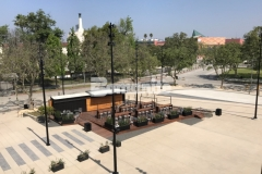 """Bomanite stamped concrete was expertly installed here by our associate, Bomel Construction Company, using the 11.5"""" Boardwalk Bomacron pattern to create a contrasting gray walkway that adds distinctive character to the Northwest Plaza entrance at LAFC Stadium."""
