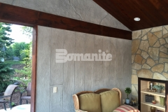 Concrete Arts used the Bomanite Bomacron Boardwalk pattern to emboss and texture a Bomanite Thin-Set overlay that was installed vertically to create these cabana walls and add character and warmth to the space.