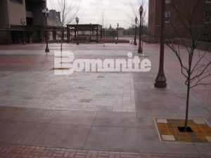 Long view of pavillion plaza using Bomanite Imprint Systems with Bomanite Basketweave Brick pattern and Bomacron Medium Ashlar Slate pattern installed by Connecticut Bomanite Systems.