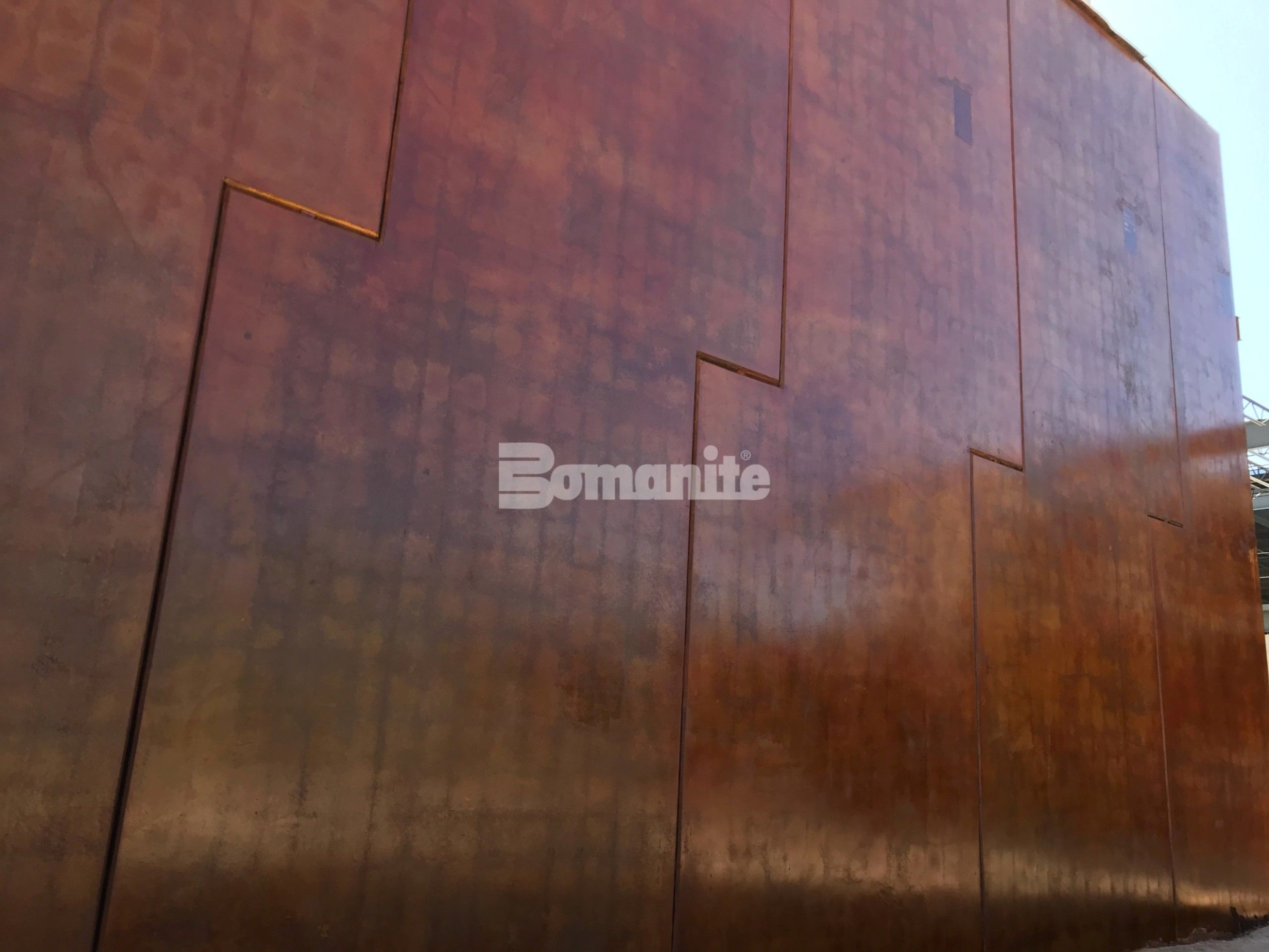 Bomanite Artistic Concrete colored the Bomanite chemically stained concrete wall panels installed by Sundt Construction for the Eastside Regional Park Rec Center known as the Beast Urban Park by the community of El Paso, TX.