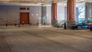 Parked cars and parking lane using Bomanite Decorative Imprinted Concrete Flooring in a Slate Texture at the Monarch Casino Resort Spa in Blackhawk, CO, installed by Bomanite Licensee Colorado Hardscapes.