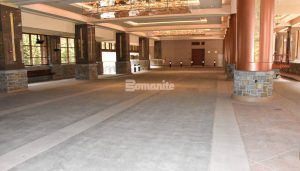 Long view of Bomanite Decorative Imprinted Concrete Flooring in a Slate Texture at the Monarch Casino Resort Spa in Blackhawk, CO, installed by Bomanite Licensee Colorado Hardscapes.