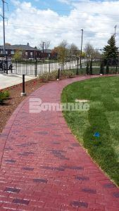 Direct Supply located in Milwaukee, WI, renovates exterior hardscape with Bomanite Imprint Systems using Bomanite Running Bond Used Brick that was installed by Bomanite of Wisconsin.