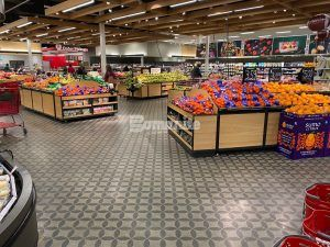 Wide view of the produce section at Target East Lake in Minneapolis, MN, decorative concrete flooring using Bomanite Custom Polishing Systems with Bomanite Patene Teres installed by Bomanite Licensee Concrete Arts.